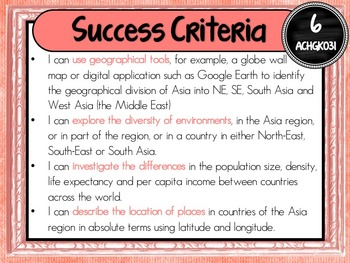 Grade 6 Geography – Aus curric Learning Goals & Success Criteria Posters