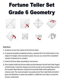 Grade 6 Geometry Fortune Tellers