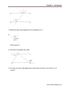 Grade 6 Geometry Worksheet