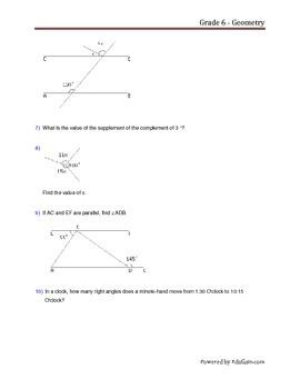Grade 6 Geometry Worksheet by EduGain | Teachers Pay Teachers