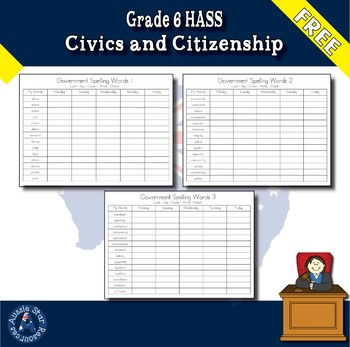 Grade 6 HASS – FREE Spelling List - Australian Government – Vocabulary