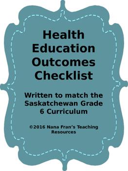 Grade 6  Health  Outcome Indicators Checklist