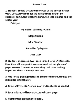 Grade 6 Health - Personal Learning Journal Binder