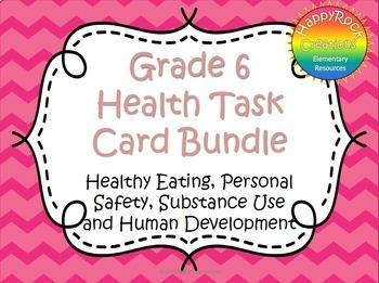 Grade 6 Health Task Cards Bundle