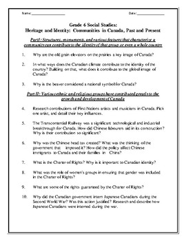Grade 6 -  Heritage and Identity: Communities in Canada, Past and Present