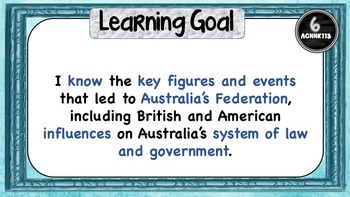 Grade 6  History – All Aus. curric. Learning Goals and Success Criteria Posters.