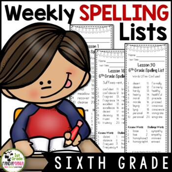 Grade 6 Weekly Spelling Lists Aligned with HMH Journeys 2011, 2014 and 2017