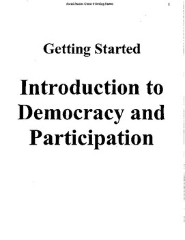 Grade 6 Introduction to Democracy and Participation Unit