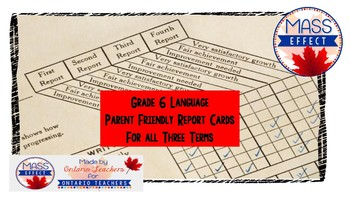 Grade 6 Language Parent Friendly Report Card Comments for all 3 Terms