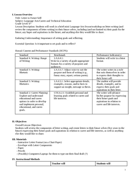 Grade 6: Letter Writing to Future Self Lesson Plan