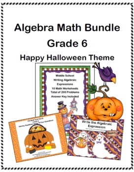 Algebra Math Bundle- Grade 6 - Happy Halloween Theme