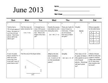 Grade 6 Math Common Core June 2013 Review Calendar