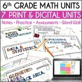 6th Grade Math Curriculum Units Bundle, Editable