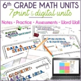 6th Grade Math Curriculum Units Bundle, Editable PPTs and