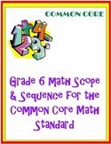 Grade 6 Math Curriculum for the Common Core Math Standard