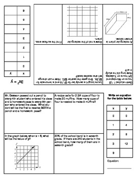 Grade 6 Math Daily Journal - 20 day Journal - Review Math Common Core