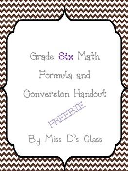 Grade 6 Math Formula and Conversion Sheet
