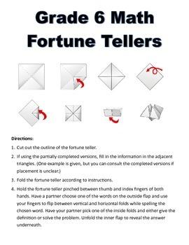 Grade 6 Math Fortune Teller