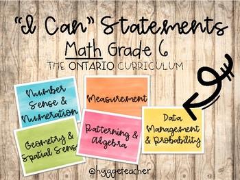 """Grade 6 Math """"I Can"""" Statements/Success Criteria *Ontario Curriculum*"""