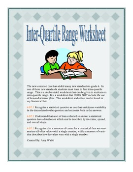 Worksheets Interquartile Range Worksheet grade 6 math interquartile range worksheet by amy w answer key