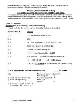 Grade 6 Math Makes Sense (2006) Unit 3: Geometry & Unit 4: Working with decimals