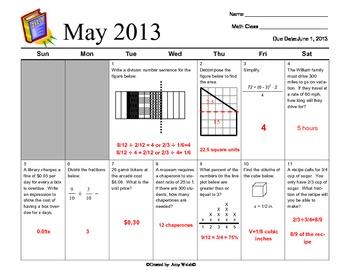Grade 6 Math May 2013 Review Calendar Common Core