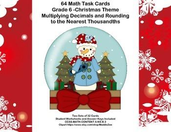 Grade 6 Math-Multiplying Decimals -CCSS.Math.Content.6.NS.B.3-Christmas