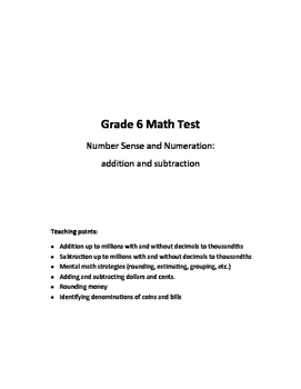 Grade 6 Number Sense and Numeration Test: Addition and Subtraction
