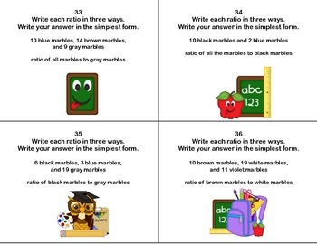 Ratios -Grade 6 Math- 40 Task Cards