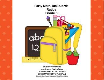 Ratios -Grade 6 Math- 40 Task Cards