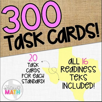 Grade 6 Math STAAR Test-Prep Task Cards- ALL READINESS TEKS BUNDLE!