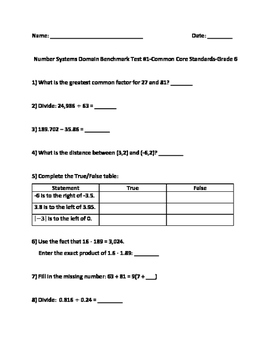 6th Grade Math Test-Prep:(SBAC, PARCC, TCAP): Number Sense Assessment
