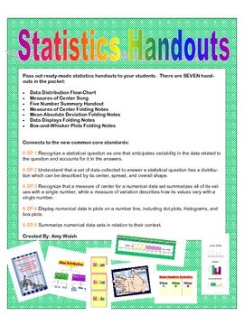 Grade 6 Math - Statistics Handouts, Song, Folding Notes - Common Core