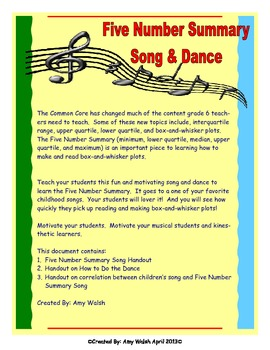 Grade 6 Math - Statistics Song & Dance - Five Number Summa