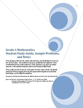 Grade 6 Math Student Study Guide and Sample Problems