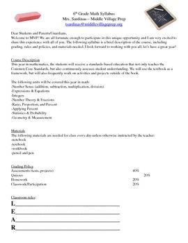 Grade 6 Math Syllabus EDITABLE