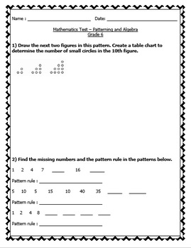 Math Tests Bundle - EDITABLE (Patterning, Measurement, Geometry, Numeration)