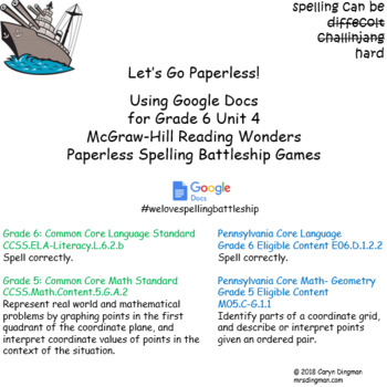 Grade 6 McGraw-Hill Reading Wonders Unit 4 Digital Spelling Battleship