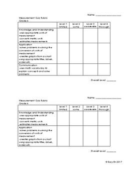 Grade 6 Measurement Quiz/Test Version 2 (At Grade Level)