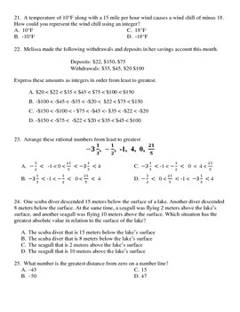 Grade 6 Common Core Math Module 3 - Mid-Module Multiple Choice Test Lessons 1-13