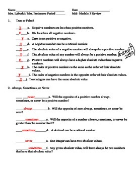 Grade 6 Common Core Math Module 3 - Mid-Module Review Packet with Answer Key