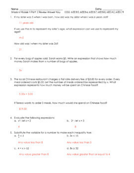 Grade 6 Module 4 Review Packet (11 pages of original questions)