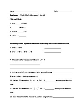 Grade 6 Module 4 Topic A-C Lessons 1-6 and 8 Quiz Review