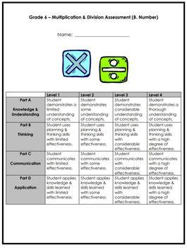 Grade 6 Multiplication & Division Assessment