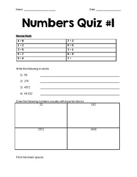 Grade 6 Numbers Quiz and Review #1