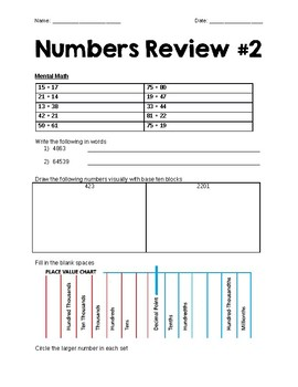 Grade 6 Numbers Review & Quiz #2