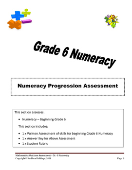 Grade 6 - Numeracy Progression Assessment