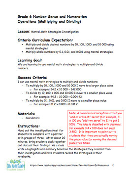 Grade 6 Ontario Math Multiplication and Division Mental Math Investigation