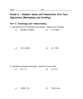 Grade 6 Ontario Math Multiplication and Division Review, Test, and Rubric