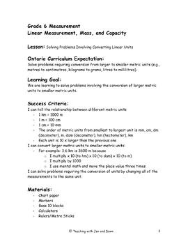 Grade 6 Ontario Math Three Part Lesson Measurement 1